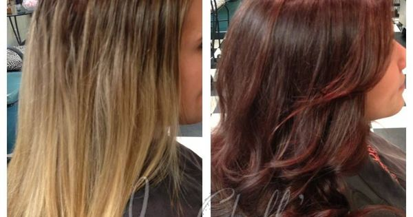 Rich Warm Brown Hair Color With Red Undertones Before And