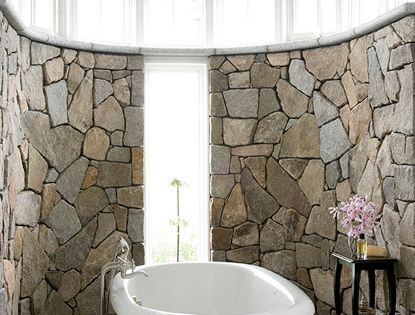 Bathroom Design - Stone Wall Bathroom via House of Turquoise | InteriorDesign