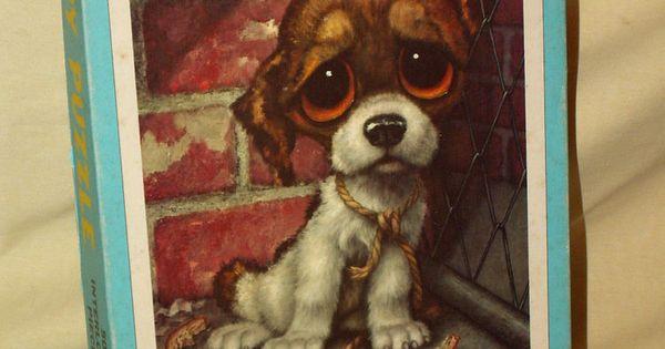 Gig Puzzle Bucky Puppy Dog Big Eye Pity Sad Milton Bradley