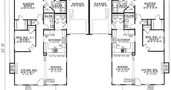 Plan 59320nd Southern Traditional Duplex Home Plan