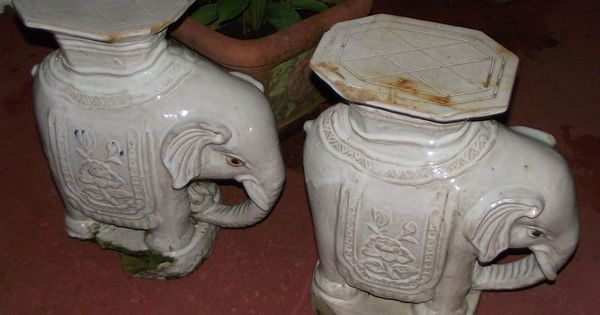 Vintage Chinese White Elephant Garden Statue Plant Stand