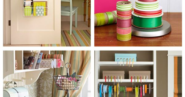 Great ideas! Adorable wrapping stations with a paper towel holder for ribbon.