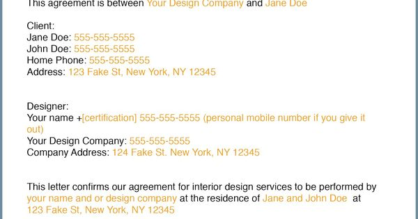 How to write an interior design letter of agreement - Interior design letter of agreement ...