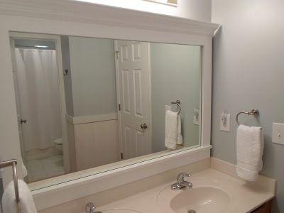 Cheriesparetime Frame A Mirror With Clips Bathroom Mirror Makeover Shabby Chic Bathroom Small Bathroom Mirrors