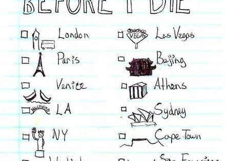 before I die: places to go check list.