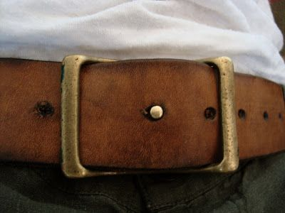 Unique solid brass post buckle design and beautifully aged