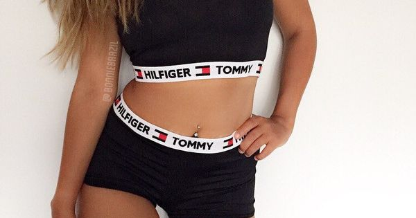 Reworked Tommy Hilfiger Two Piece Set Shorts & Crop Top ...