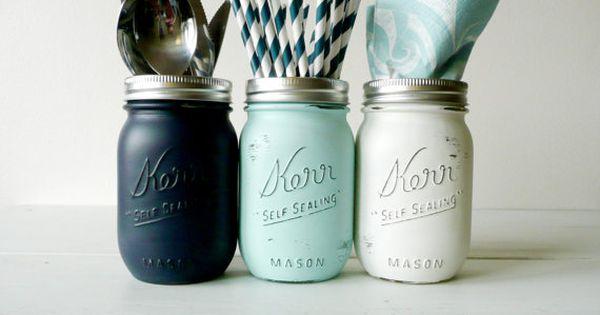 Nautical Navy Aqua And White Utensil Holders By Beachblues Diy Crafts Pinterest Jars