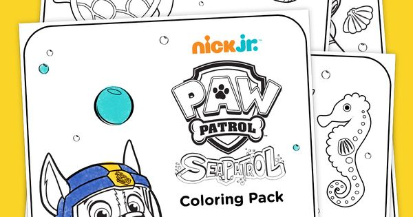 Sea Patrol Coloring Pack Scuba gear, Paw patrol and Free