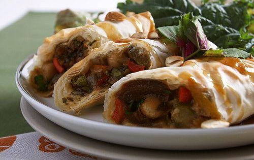 Vegan Moroccan Chickpea Vegetable Phyllo Rolls with Balsamic Maple Sauce