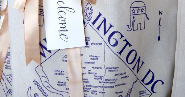 Washington Dc Wedding Welcome Bag Tote Bag Ribbon