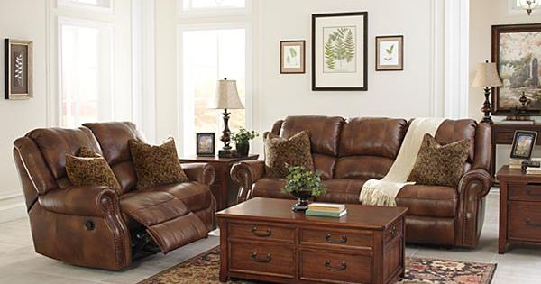 The Walworth Reclining Sofa From Ashley Furniture Homestore Leather Match Upholstery