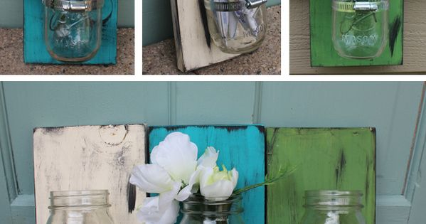 Mason Jar Wall Vase D.I.Y for your bathroom toothbrushes and stuff! -