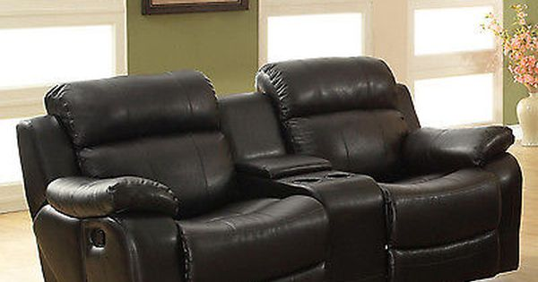 New Black Leather Loveseat Sofa Double Glider Recliner Cup Holder Couch Lazy Boy Leather Reclining Loveseat Black Leather Recliner Love Seat