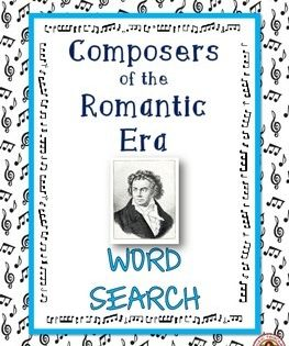 Music Word Search Composers Of The Romantic Era Music Game