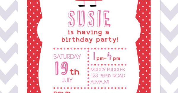 Peppa Pig Birthday Invite 1st Birthday Invitation by LuminousLogos, $10.00 | Peppa Pig Party ...