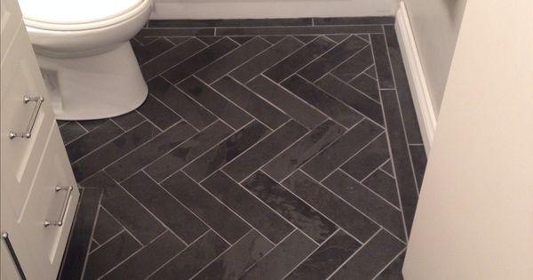 Charcoal Gray Herringbone Honed Marble Floors In The