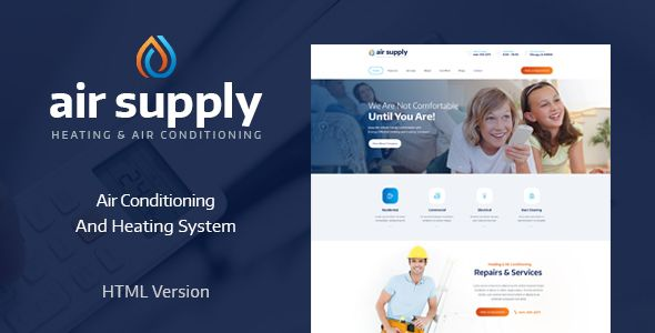 Air Conditioning And Heating Services Site Template With Images