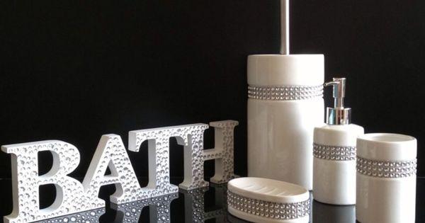 New 5pc Diamante Bling White Ceramic Bathroom Accessory