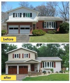 Before And After Painted Brick And Vinyl Home Exterior Makeover House Exterior Exterior Brick