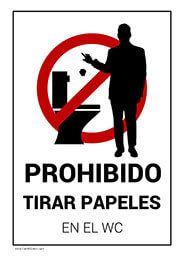 Prohibido Tirar Papeles Wc Men Bar Restaurante Escuela