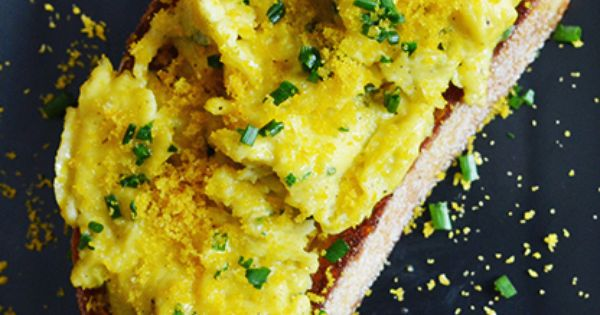 Soft-Scrambled Egg Toasts with Bottarga | Recipe