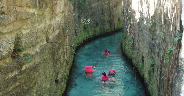 Cancun. Xcaret's underground rivers are part of a large cave system that