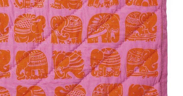 Tangerine Elephant Quilt   Serena & Lily
