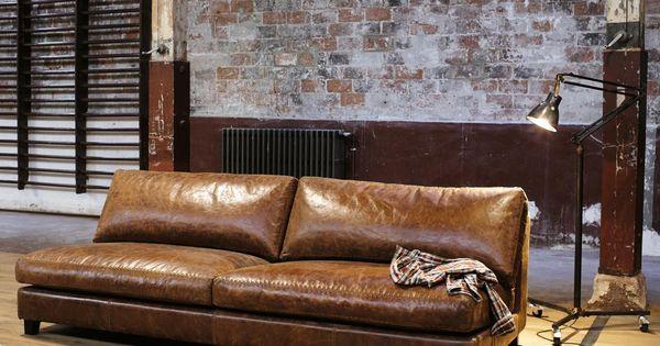 Canap vintage 2 3 places en cuir marron nevada maisons for Entretien du cuir canape