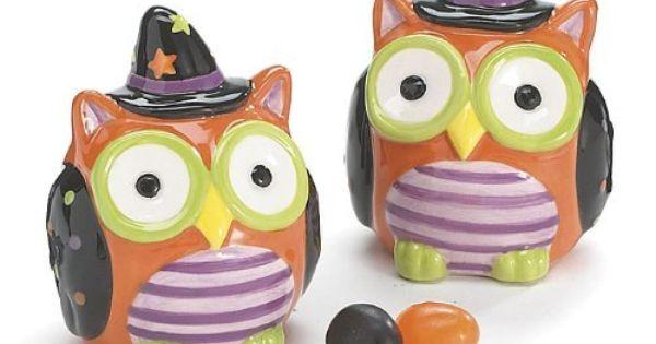 Halloween Owl Salt and Pepper Shaker Set Adorable Halloween Decor ...