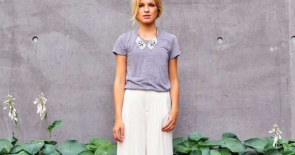 grey tee + white wide leg trousers + statement collar bib necklace