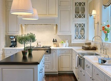 ♥ everything about this kitchen- white cabinets with dark wood floors, farmhouse