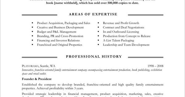 entertainment executive page1 media communications resume samples
