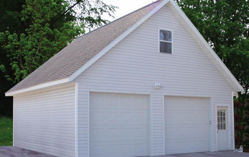26 W x 28 L x 9 H 2 Car Room in Attic at Menards  Materials are over  9000   but has two garage doors  side door  It is slightly bigger  Conside. 26 W x 28 L x 9 H 2 Car Room in Attic at Menards  Materials are