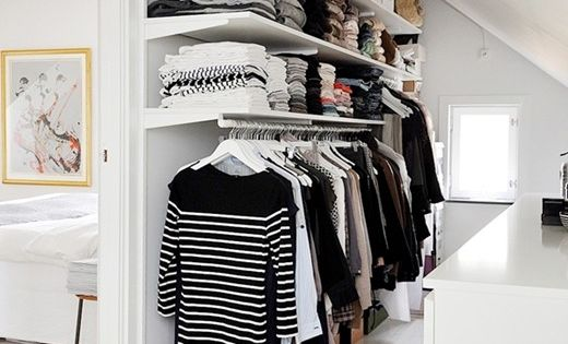 Use an open closet for small spaces and for attic rooms