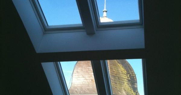 blick von innen auf kirchturm dachfl chenfenster eingebaut von der ab profil dachdeckerei. Black Bedroom Furniture Sets. Home Design Ideas