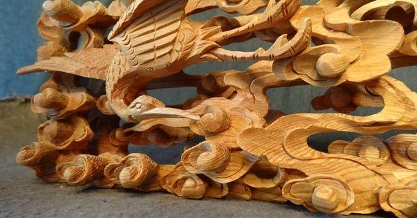Japanese buddhist altar wood carved sculpture ranma