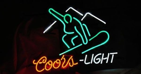 Coors Light Beer Neon Light Sign 16 Quot X 15 Quot Snowboarding