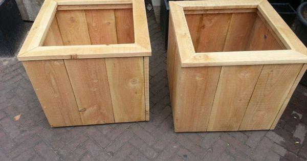 Douglas houten plantenbak op wielen 80x80x60cm steigerhouten plantenbakken de olijfgaard - Houten doos op wielen ...