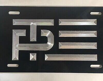 Cadillac 3 LOGO Car Tag Diamond Etched on Black Aluminum License Plate