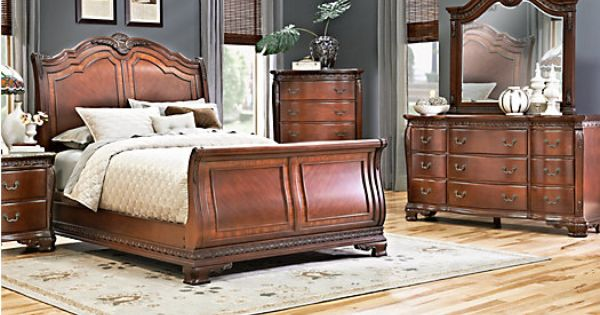 rooms to go bedroom sets king shop for a cortinella king cherry 7pc sleigh bedroom 20802