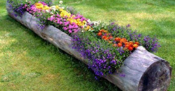 Ausgefallene gartendeko naturholz blumentopf garten for Blumentopf dekoration