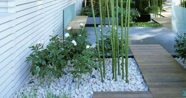 bambus garten flanzen ziersteine weisse rosen garten pinterest garten. Black Bedroom Furniture Sets. Home Design Ideas