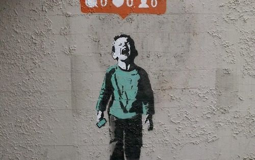 """Nobody Likes Me"" - by i♥. Stencil street artist in Vancouver BC."