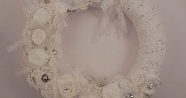 Couronne de style shabby chic blanche beige et ecrue pour décoration ...