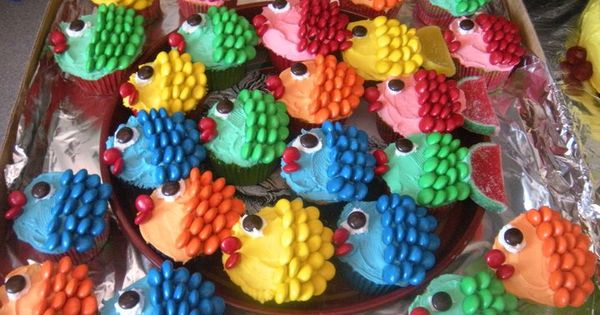 M&M; fish cupcakes