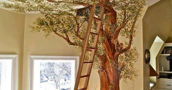 Ladder to secret room/loft (love the tree painted up onto the ceiling,