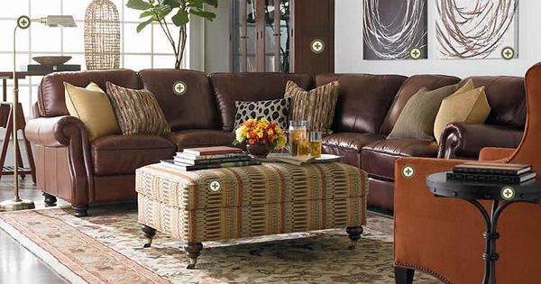 Leather Sectional With Modern Artwork Family Room Furniture Leather Living Room Furniture Home Living Room