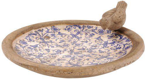 Fallen Fruits Aged Ceramic Bird Bath White//Blue