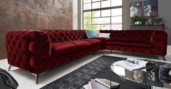 Chesterfield Ecksofa Big Emma Samt Dunkelrot Xxl Moderne Barock Mobel Tufted Sectional Sofa Home Decor Velvet Tufted Sofa
